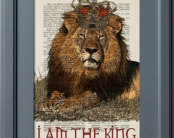 Lion King, I Am The King, Lion With Crown, Vintage Book Page Print, Old Dictionary Page Print