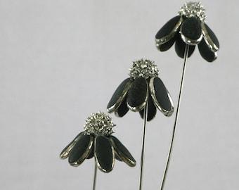Beach Pebble Echinacea Flower Stem, Stained Glass flower, Sea Glass Art