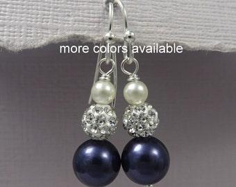 Swarovski Ivory  and Navy (Night Blue) Pearl Earrings, Bridesmaid Earrings, Bridesmaid Gift, Mother of the Bride Gift, Dark Blue Earrings