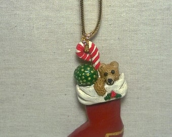 Handpainted Christmas Stocking Necklace