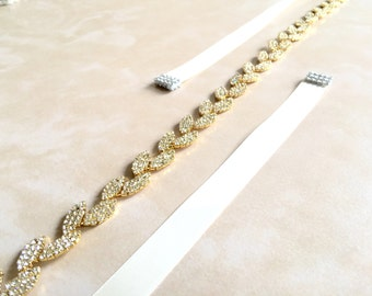 Gold Bridal Sash | Gold Rhinestone Sash Belt | Gold Wedding Sash Belt
