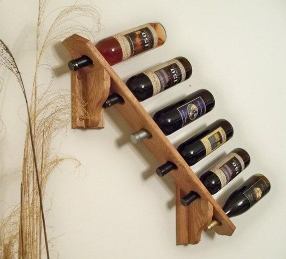 Handcrafted solid oak wooden wine rack bottle slanted wall