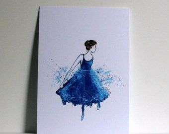 Girl blue dress Postcard
