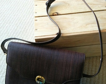 1980s Italian horse hair deep brown textured shoulder bag adjustable strap