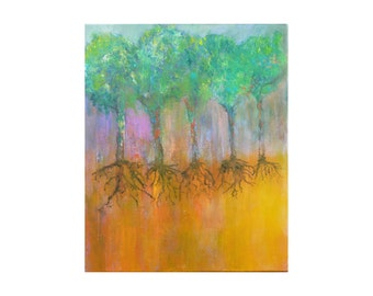 Original contemporary abstract painting landscape tree roots 50 x 61 cm. Colorful abstract  trees painting. Unique gift idea. OOAK painting