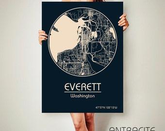 EVERETT Washington CANVAS Map Everett Washington Poster City Map Everett Washington Art Print Everett Washington