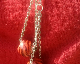Red Tiger Stripe chain earrings