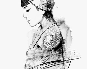 Little Seyhan - Art Print - Fashion Illustration - Watercolour - Line drawing - Art - Ink