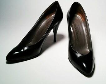 Vintage Charles Jourdan Black Leather heels