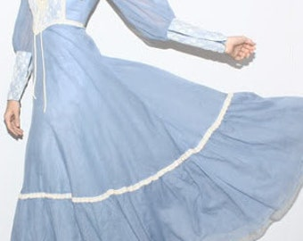 Vintage Gunne sax dress baby blue sheer hippie boho dress
