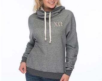 Chi Omega Cowl Neck Sweatshirt, Chi Omega French Terry Hooded Sweatshirt, Embroidered Chi Omega Sweatshirt, Chi Omega sweats