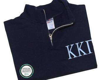 Kappa Kappa Gamma Quarter Zip Pullover,  Kappa Kappa Gamma cadet fleece pullover, KKG Sorority Letters Apparel, KKG fleece Sweatshirt
