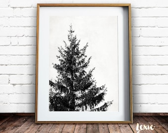 Tree Print, Scandinavian Art, Black and White Print, Pine Tree, Tree Stencil, Minimalist Art, Tree Art, Printable Wall Art, Instant Download
