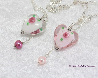 Heart necklace |  Romantic Necklaces For Her | Lampwork Glass Necklace  | Granddaughter Gift | Glass Pendant Necklace with Pearl Drop |A0496