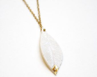 Ceramic Porcelain Feather Pendant Necklace with a spot of gold glaze Pastel Jewelry