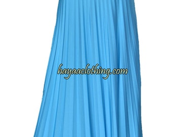 GLACIER BLUE Flare Jersey Pleated Maxi Skirt | Modest Long Skirt | Islamic Clothing S M L XL 2XL 3XL