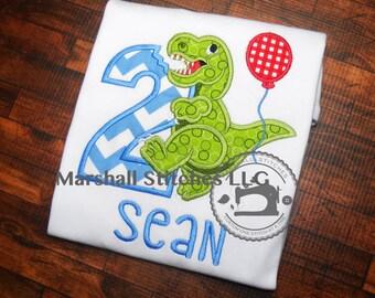 Dinosaur T-Rex Applique Birthday Shirt/ T-Rex Birthday Shirt/ T-Rex Appliqué Birthday Shirt/ T Rex Party Shirt