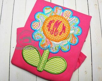 Girl's Monogramed Flower Shirt/ Monogramed Applique Flower Shirt/ Girls Monogramed summer Shirt