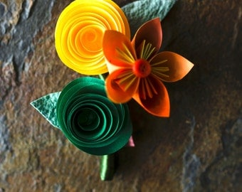 Colorful Paper Boutonnieres