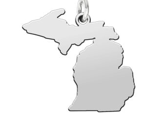 Sterling Silver Michigan Mitten Necklace Pendant - Upper and Lower Peninsula