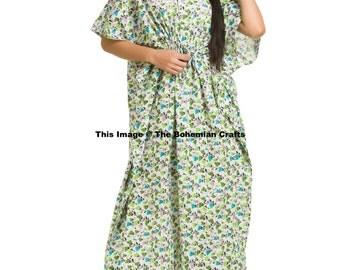 Floral Kaftan, Beach Dress, Summer Sun Dress, Night Dress, Free Size Caftan, Cotton Maxi, Indian Cotton Caftan, Maternity Gown, Casual Dress