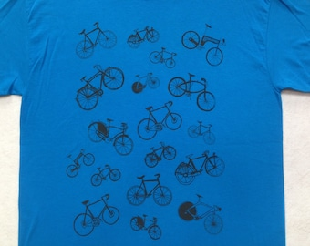 Bicycle Tee Shirt- Screen Print Bike Tee- Cycling Tee- Bike Lover Tee Shirt- Bike Gift- Bicycle Gift- Cycling Gift- Size Medium