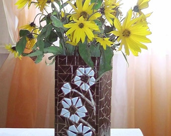 "Glass mosaic vase ""Flowers""- Vase glass - Mosaic vase - Mosaic art - Unique vases - Brown glass vase"