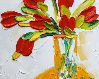 Custom Abstract Original Painting. Palette Knife Painting Flower Painting. Oil on Canvas Wall Art. Floral Painting Wall Decor