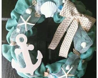 Anchor Wreath, Sea Shell Wreath, Beach Wreath, Nautical Wreath, Nautical Decor, Anchor Decor, Anchor Decorations, Summer Wreath, Door Wreath