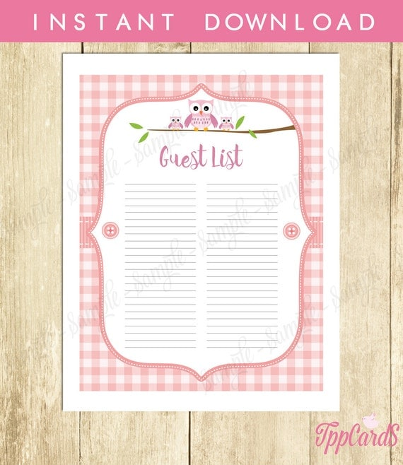 shower guest list owl baby shower list baby shower sign in sheet