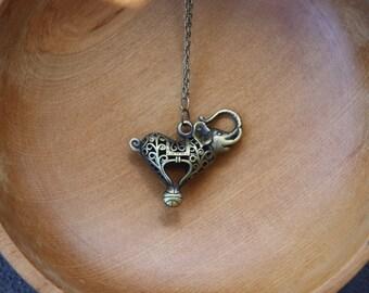 Circus elephant filagree necklace