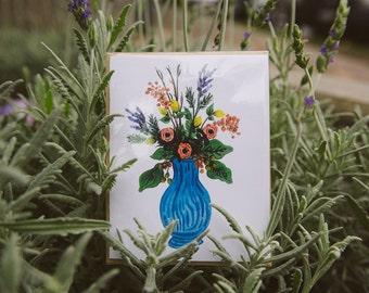 Vase of Flowers Print (blue)