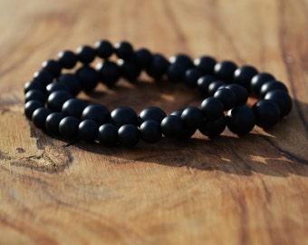 Matte Black Onyx Dynamic Duo - 8mm & 6mm Genuine Semi Precious Stone Bracelet