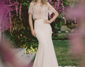 Wedding dress with sleeves- KATE GOWN- A Gorgeous 20's style glam wedding dress