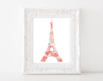 Torre Eiffel Floral acuarela - impresión 8 x 10 - flores acuarela lámina - DIY imprimible - París - Francia - Francés arte lámina