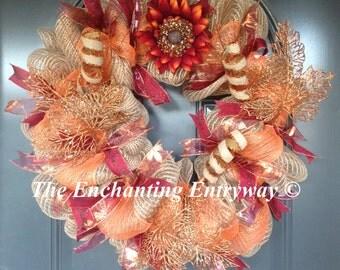 Red Sunflower Burlap Oversized Copper-Orange Leaves Burlap Swirls Red Script Ribbon Decomesh Fall Autumn Wreath Ready to Ship
