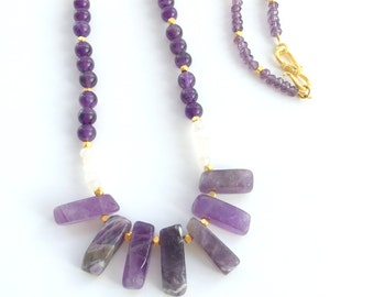 Amethyst Necklace, Amethyst and Czech Crystal Pendant Necklace, Multi Strand Amethyst Necklace,Czech Crystal Necklace,Long Amethyst Necklace