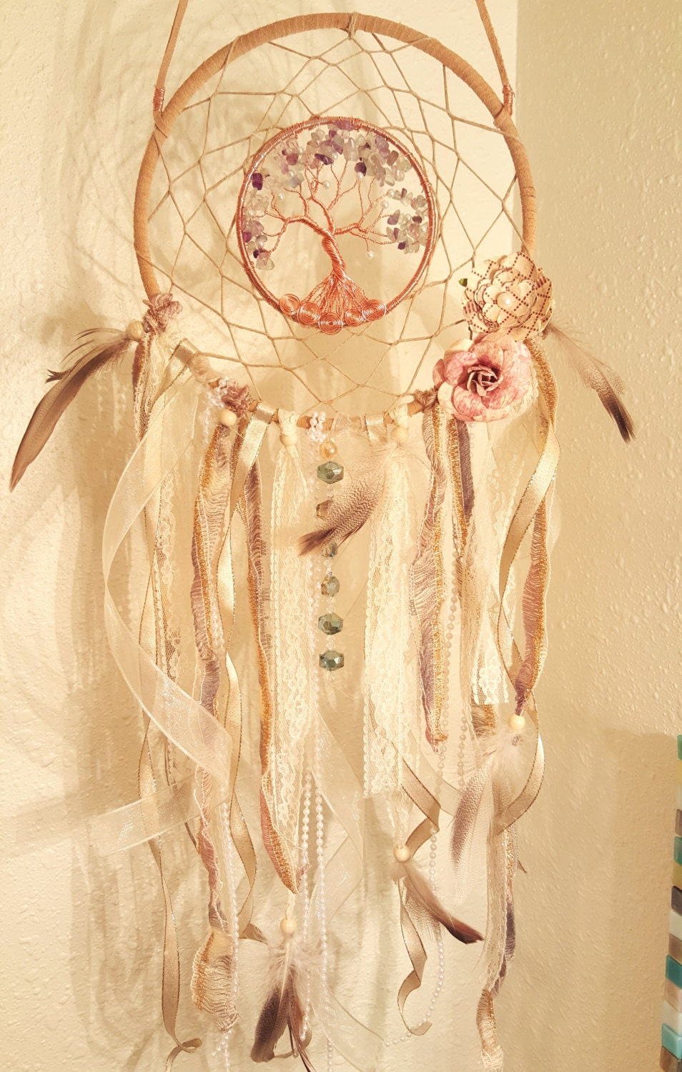 Vintage Style Tree Of Life Dream Catcher With Swarovski Beads