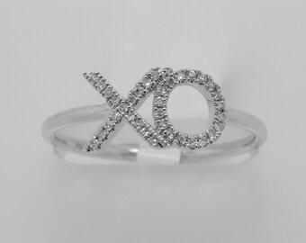 14K White Gold Diamond XO Ring