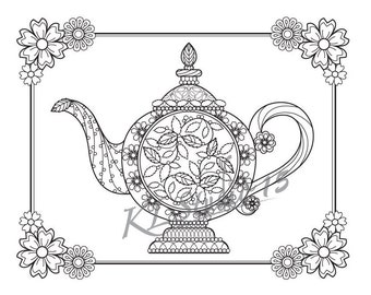 Tulip teapot Coloring page Instant Download Relax Mandala