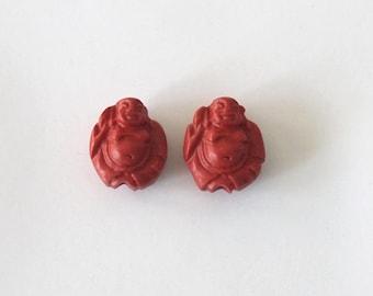 2 Cinnabar Buddha Beads Red Charms Size 20 x 17mm