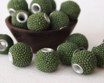 8 Kashmiri Beads Round Olive Green Size 13 x 15mm
