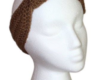 Brown Headband, Cafe Latte Brown Knotted Headband, Crochet Headband, Boho Headband, Boho Headwrap, Brown Knotted Headwrap