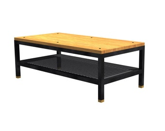 Rectangular coffee table in solid oak and metal