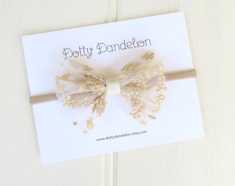 Gold Lace Baby Headband | Holiday Baby Headband, Gold Bow Headband, Christmas Baby Headband, Lace Baby Bow, Gold Baby Bow