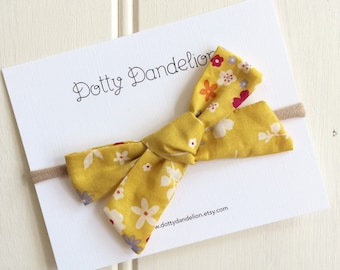 Baby Headband - Floral Baby Hair Bow - Mustard Yellow Hair Bow