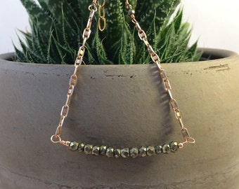 Pyrite Rose Gold and Sterling Silver Bracelet