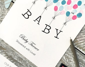 Baby Shower Guest Book fingerprint balloon +2 ink pads. A4 Floating letters. Personalised Baby Gift Nursey Print Wall Art FREE del Australia
