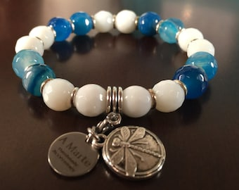 Jade and agate faceted, dragonfly charm