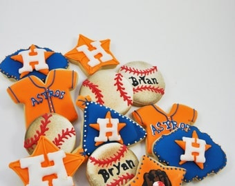 Houston Astros Baseball Cookies - 1 Dozen - sports - decorated sugar cookies - Texas - birthday party - game day - Dedicated to Bryan Craig